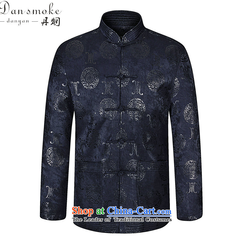 Dan smoke during the Spring and Autumn in New older men Tang Dynasty Chinese collar improved father boxed modern Tang dynasty pure cotton retro jacket Navy Blue?180