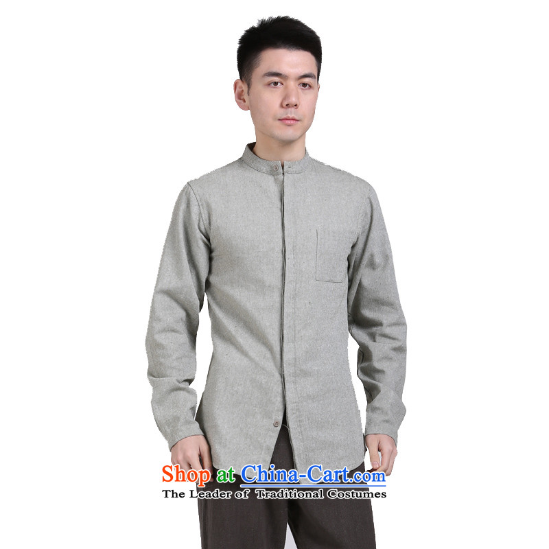 China wind cotton linen APEC men middle-aged men's shirts l Sau San leisure shirt jacket green XXL