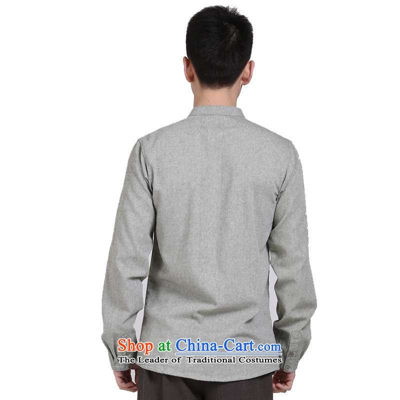 China wind cotton linen APEC men middle-aged men's shirts l Sau San leisure shirt jacket greenXXL, hill people movement has been pressed shopping on the Internet