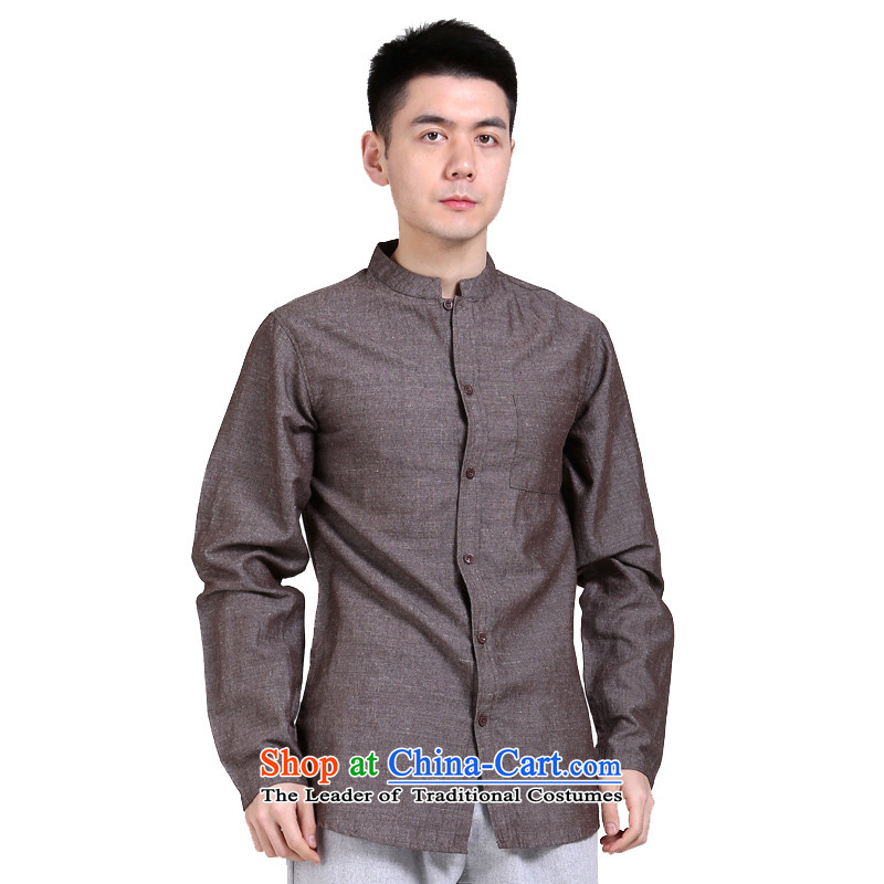 China wind Sau San Chinese Business APEC Men long-sleeved shirt men linen original leisure middle-aged men's shirts red and brown燲L