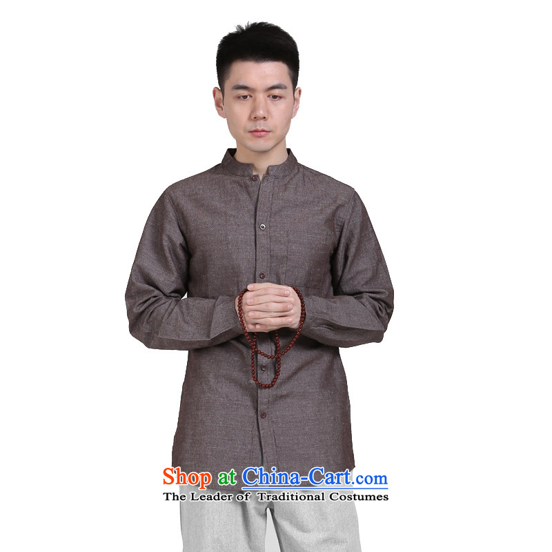 China wind Sau San Chinese Business APEC Men long-sleeved shirt men linen original leisure middle-aged men's shirts red and brown XL, hill people movement has been pressed shopping on the Internet