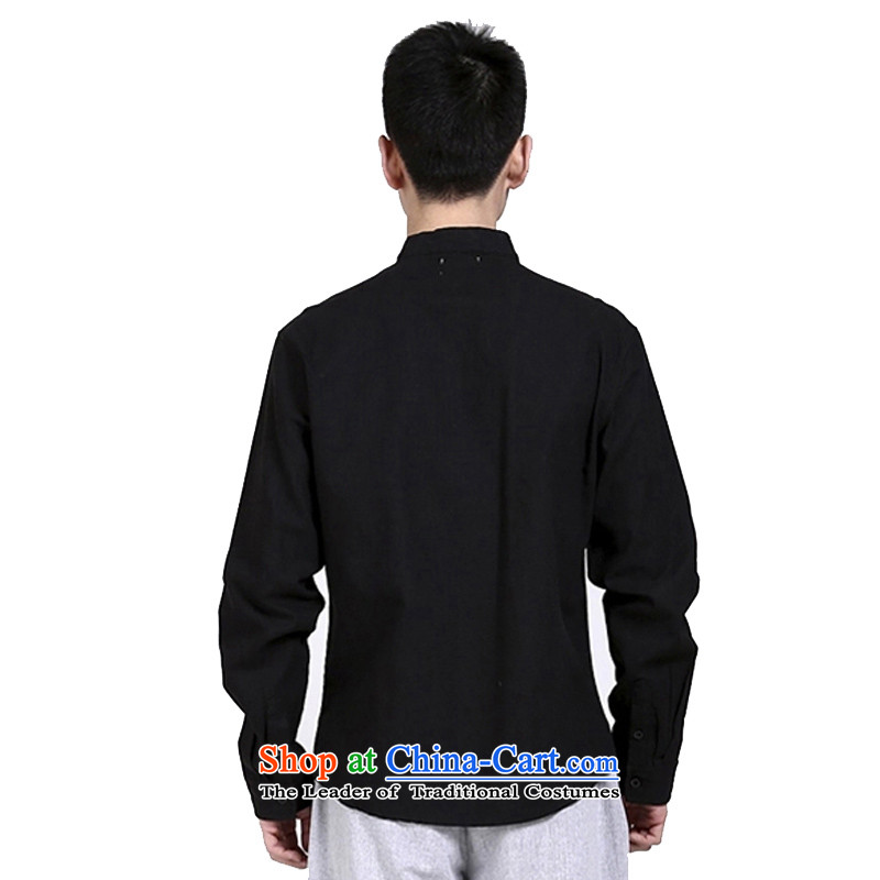 The original motion hill people China wind cotton linen tunic Chinese shirt collar zen men Black Linen ball services meditation services Black?XL