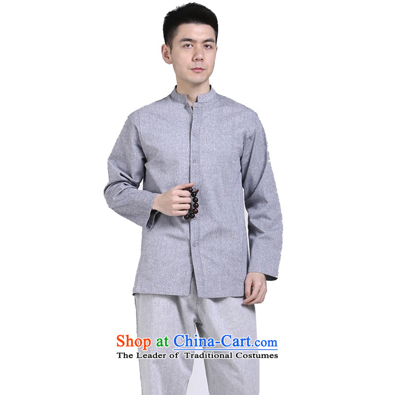 The original motion hill people China wind cotton linen tunic men Chinese shirt long-sleeved T-shirt and leisure relaxd Gray?L