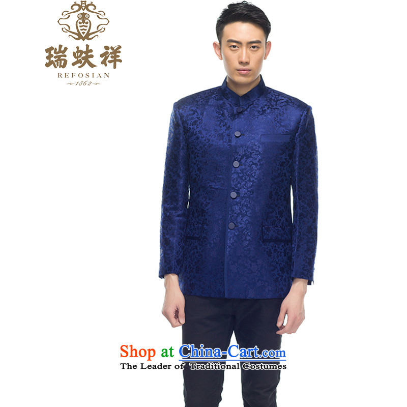 Thus Cheung Man, brocade coverlets shirt 2015 new blue retro China wind blue XXXL Tang