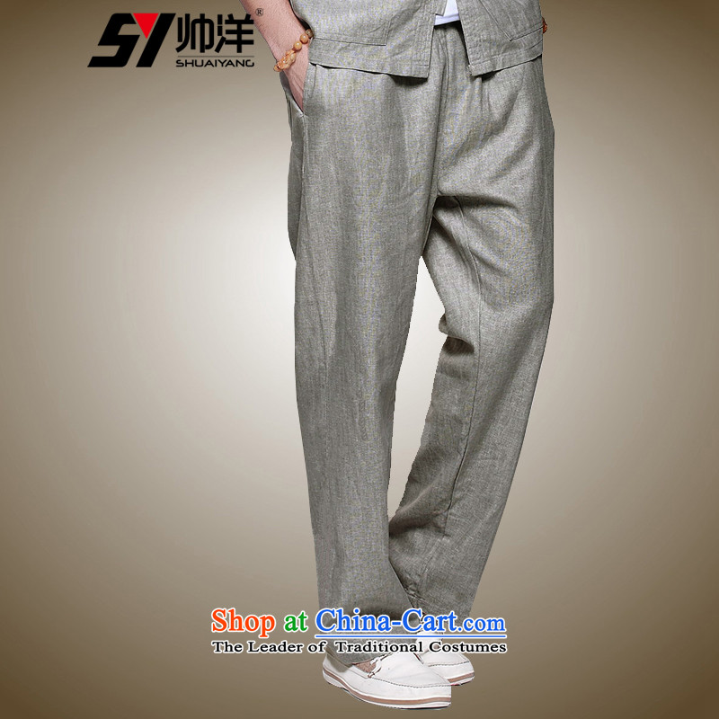 Spring 2015 Yang Shuai men linen pants China Wind Pants and Tang Chinese spring and summer comfort and breathability men's trousers, wild, elastic waist with drawcord Ma Tei (trousers) 40/170 Gray