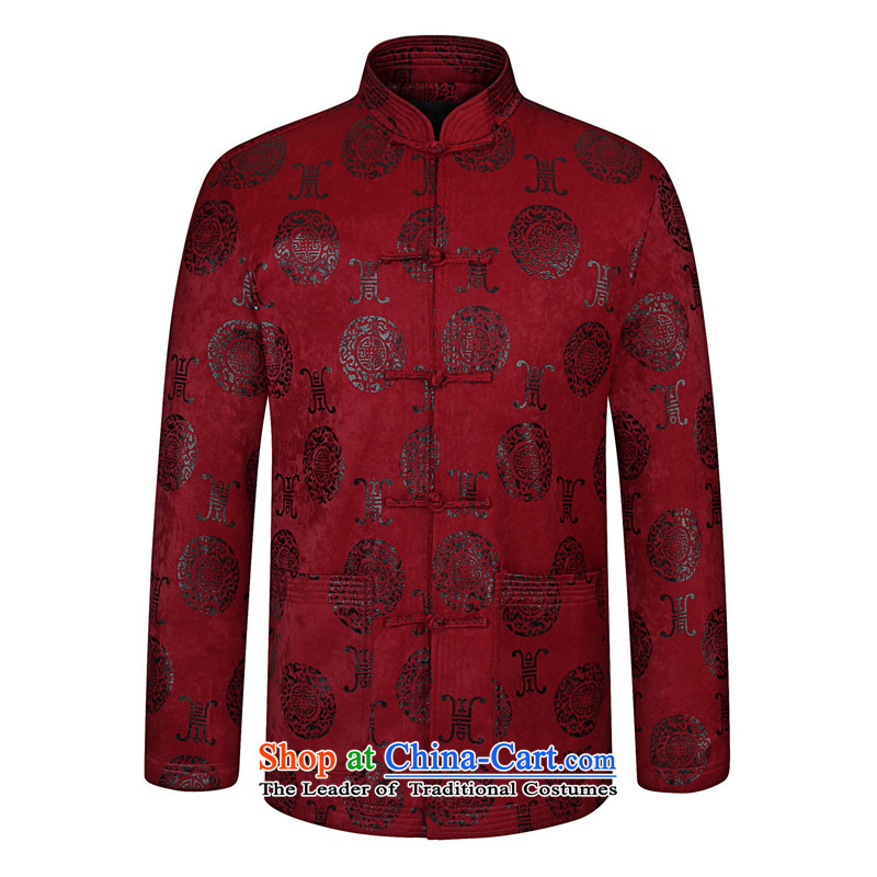 Double-Chun Qiu new middle-aged men's Mock-neck Tang dynasty disc detained National Men's Shirt Tang Dynasty Chinese wedding banquet father jacket, wine red wine red 175聽180