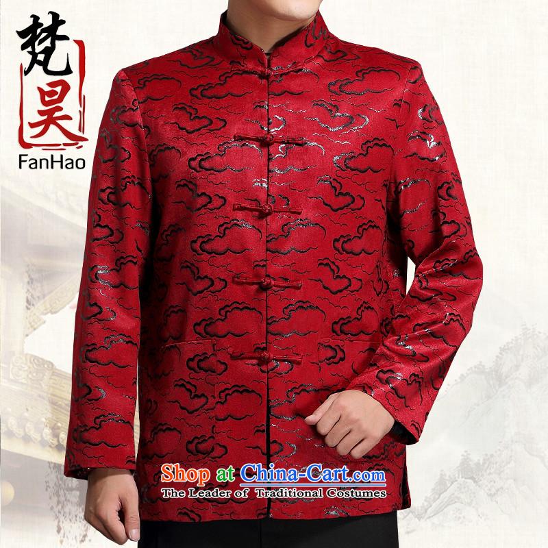 Van Gogh's 2015 new men Tang jackets in older long-sleeved jacket Tang Dynasty Chinese tunic autumn and winter Mock-neck J1518 RED XXL