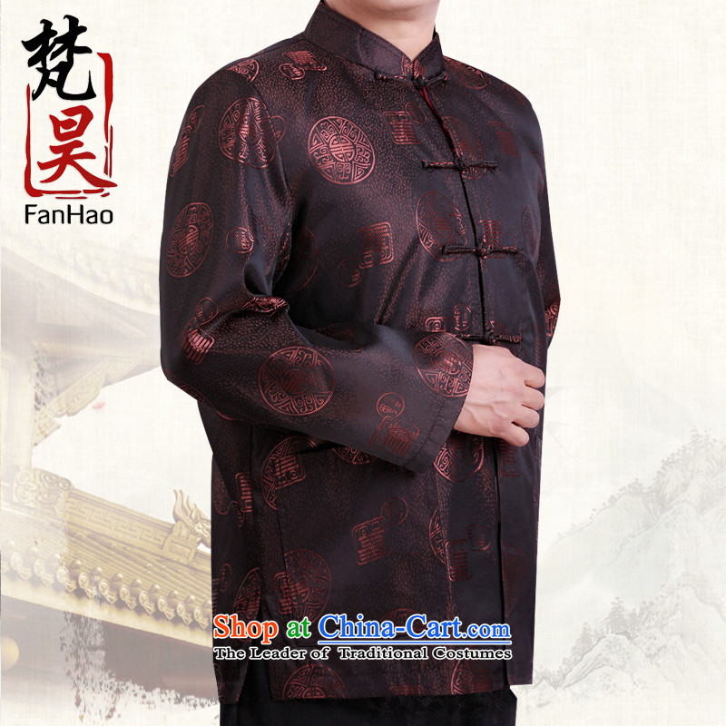 Van Gogh's new autumn and winter jackets men in Tang older men's larger jacket coat China wind load H1535 grandpa fu shou brown燲L