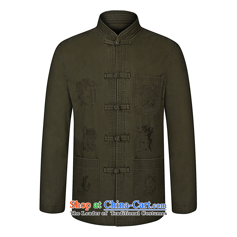 Mr James TIEN made of pure cotton jacket Tang blouses spring and autumn in New older men's jackets national wind up long-sleeved detained Tang dynasty sand washing cotton card its 175-?190