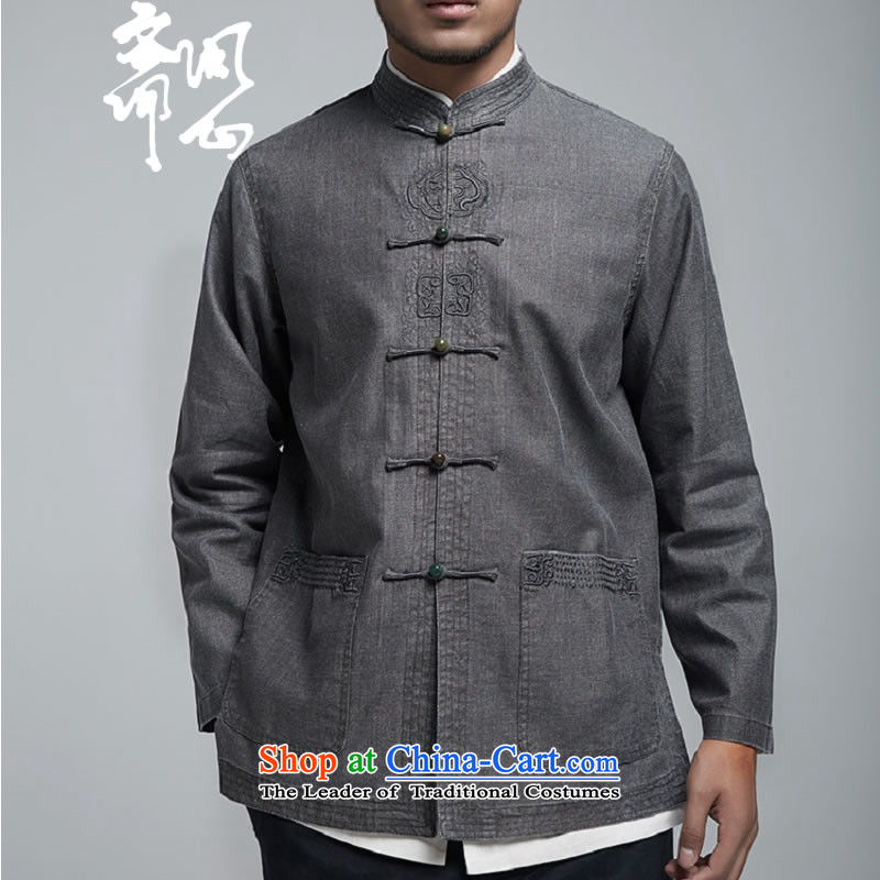 Q Shinsaibashi represented a health spring (men's new men linen collar jacket embroidered jacket 1787 carbon Chinese XXL 180/100, q heart of Ramadan , , , shopping on the Internet