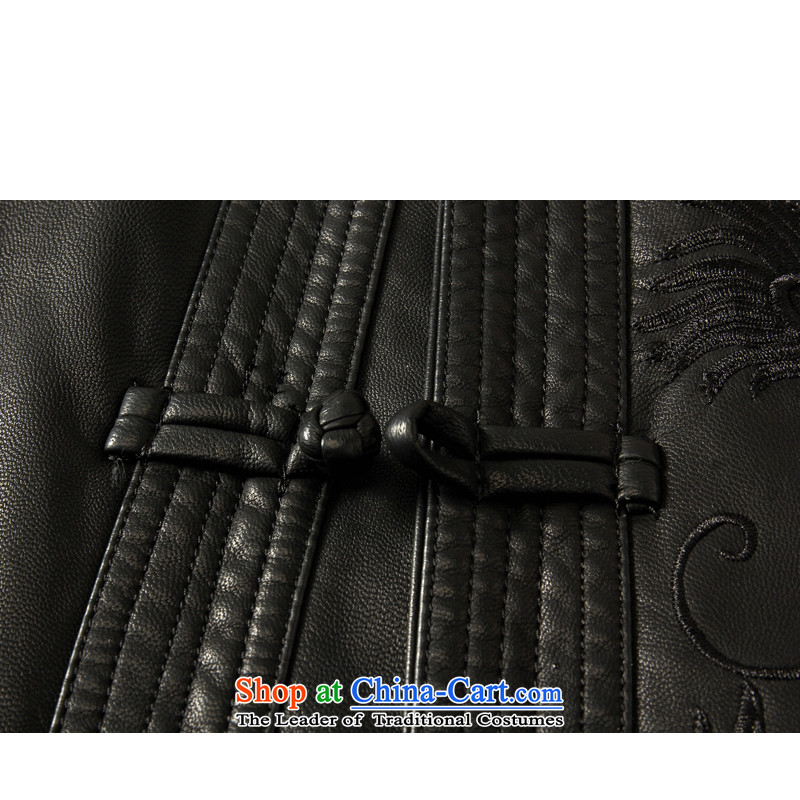 Double-聽 spring and autumn 2015 winter. older men in Tang Long Neck Jacket of Korean leather garments PU Tang-pack Black 175聽185, Mr James TIEN made black , , , shopping on the Internet