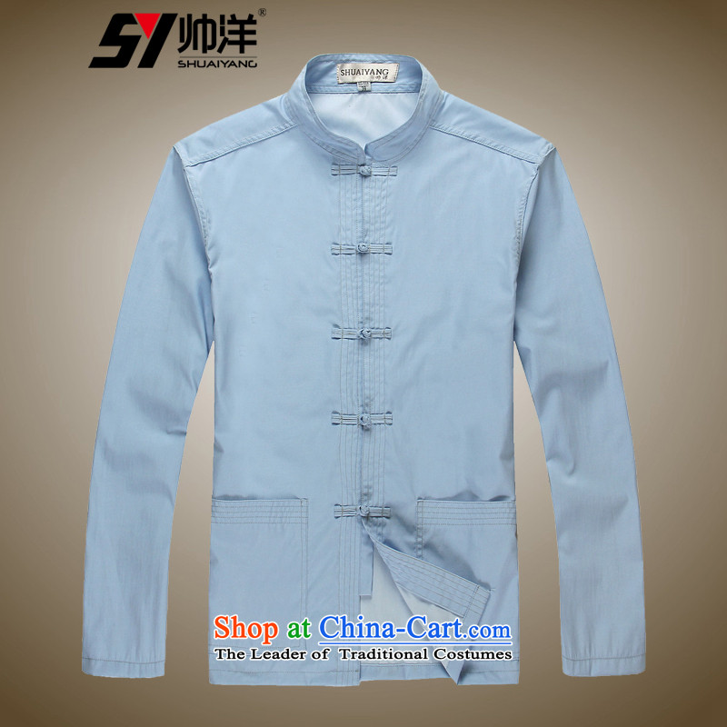 Shuai 2015 China wind and ocean long-sleeved shirt collar men Tang blouses manually tray clip retro spring Chinese men's shirts and comfortable soft blue聽41_175