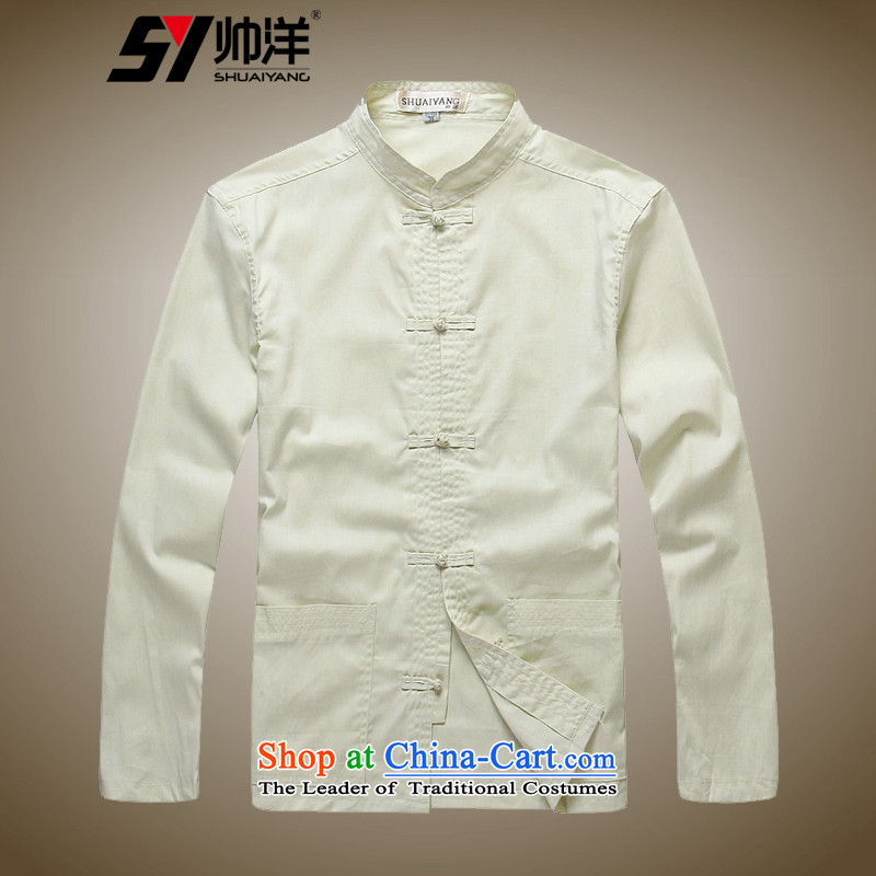 Shuai 2015 pure cotton ocean men Tang long-sleeved shirt with tie up Chinese men manually shirt retro China wind cotton ultra-soft and comfortable fabric crafted聽39_165 m Yellow