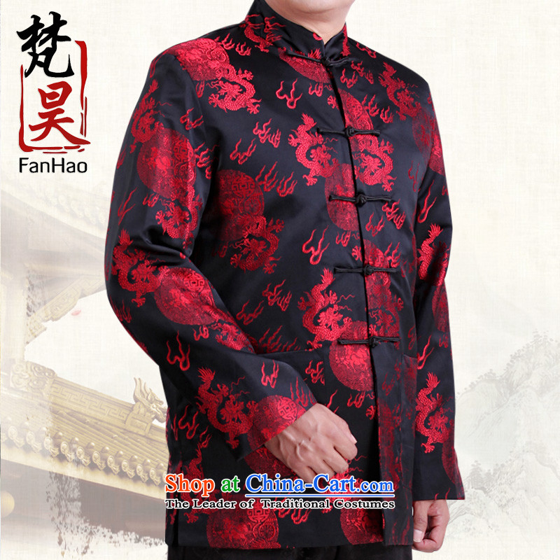 Van Gogh's new dragon design Tang dynasty China Wind Jacket men detained long-sleeved jacket disc men in autumn and winter H1502 older red聽XL
