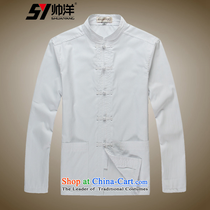 Shuai 2015 Ocean spring outfits men forming the Tang dynasty shirt shirt long-sleeved shirt China wind male Chinese shirt classic white聽43_185