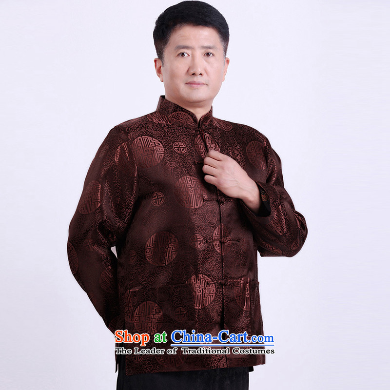There is a property in the Chinese Tang dynasty men's older men and thick robe larger men Tang dynasty winter coats and spring older persons Shou Tang dynasty coffee-colored聽XXL