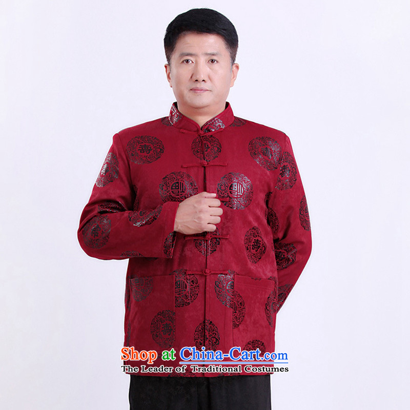 There is a property in the Chinese Tang dynasty older men's jackets too large Soo-thick men China wind men red燲L
