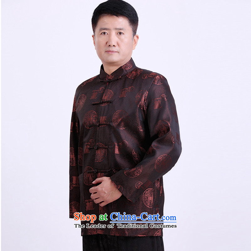 With the Chinese Tang dynasty men's large number of elderly persons, extra thick winter clothing brown燲XL spring Birthday