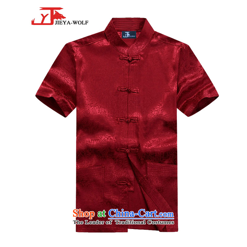 - Wolf JEYA-WOLF, New Package Tang dynasty men's short-sleeved light summer of Tang Dynasty MEN'S NATIONAL leisure wears the River During the Qingming Festival  of a set of red?185/XXL silk