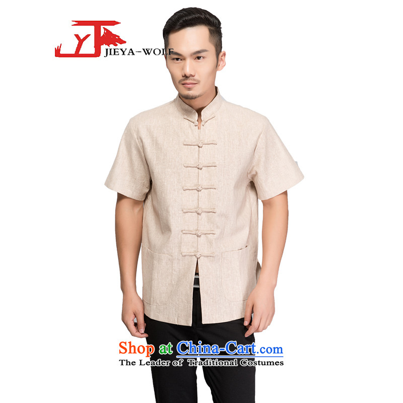- Wolf JEYA-WOLF, New Tang dynasty men's short-sleeved T-shirt cotton linen advanced light summer of Tang Dynasty MEN'S NATIONAL leisure, handcrafted?180/XL m Yellow