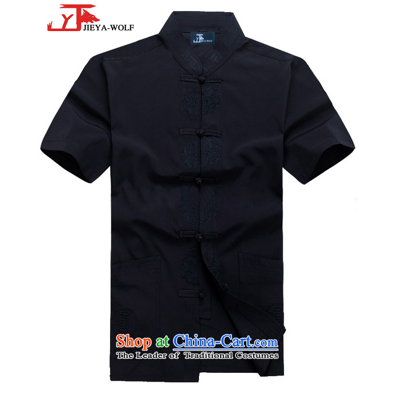 - Wolf JEYA-WOLF, New Package Tang dynasty men's short-sleeved light summer) Kit Man Tang casual Kit China Wind, dark blue A?175/L