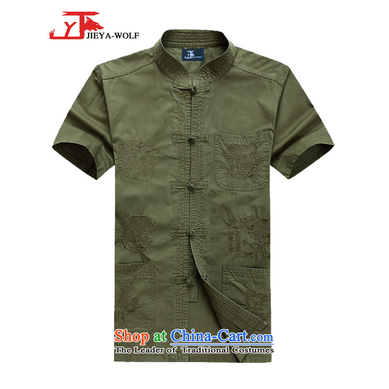 - Wolf JEYA-WOLF, New Tang dynasty men's short-sleeved T-shirt cotton bamboo charcoal light summer of Tang Dynasty MEN'S NATIONAL leisure green聽175_L