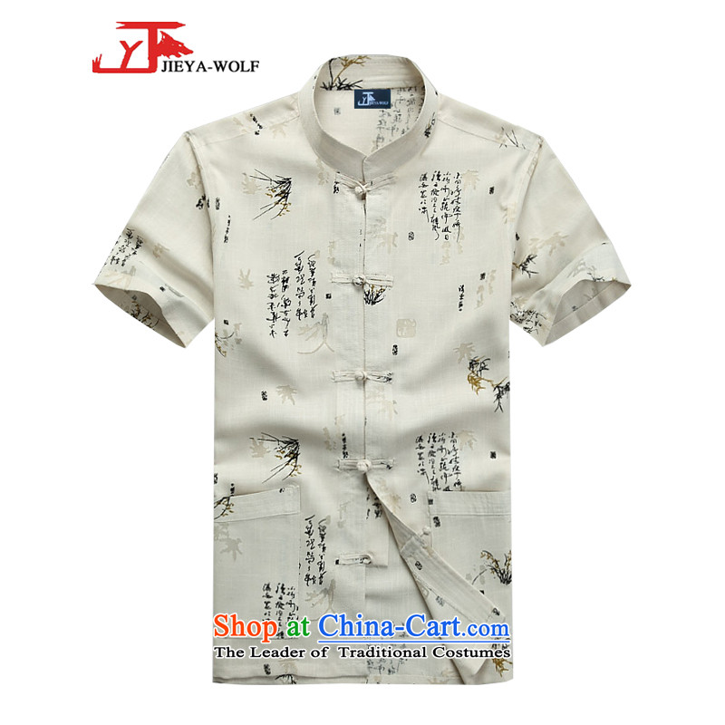 - Wolf JEYA-WOLF, New Tang dynasty men's short-sleeved fine cotton linen is stylish light summer shirts men Tang dynasty national casual shirt, beige ZHUYESHAN聽180_XL