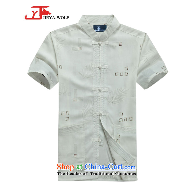 - Wolf JEYA-WOLF, New Tang dynasty men's short-sleeved T-shirt summer fine cotton linen thin, men of Tang dynasty white�0_XXXL National Leisure