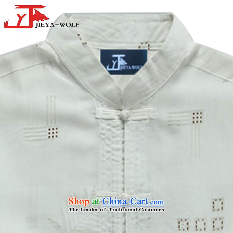 - Wolf JEYA-WOLF, New Tang dynasty men's short-sleeved T-shirt summer fine cotton linen thin, men Tang dynasty, white聽190/XXXL,JIEYA-WOLF,,, national leisure shopping on the Internet