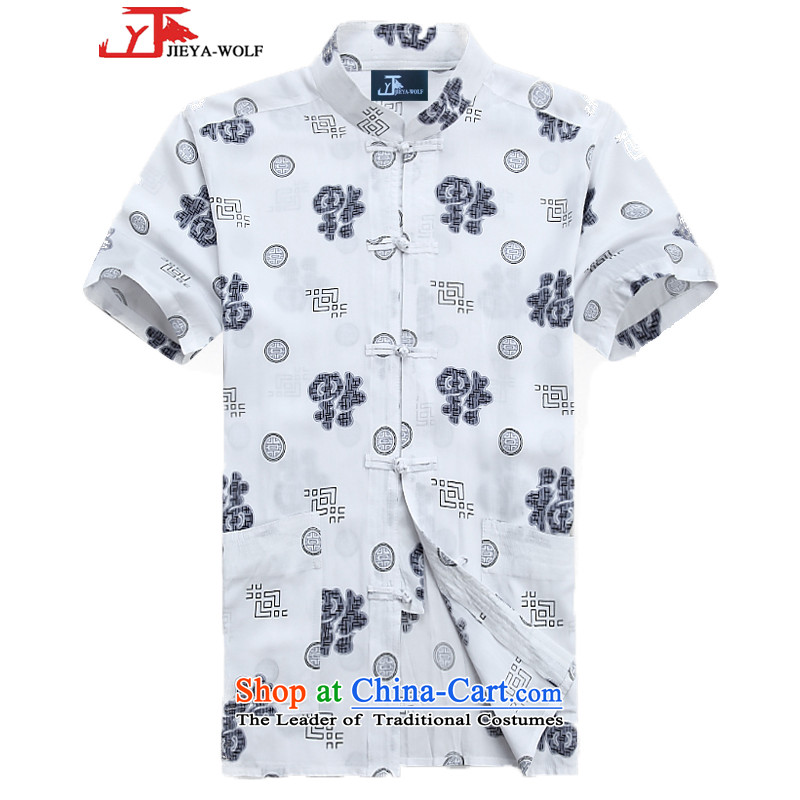 - Wolf JEYA-WOLF, New Tang dynasty men's short-sleeved T-shirt pure cotton summer thin, men of Tang dynasty white聽175_L National Leisure