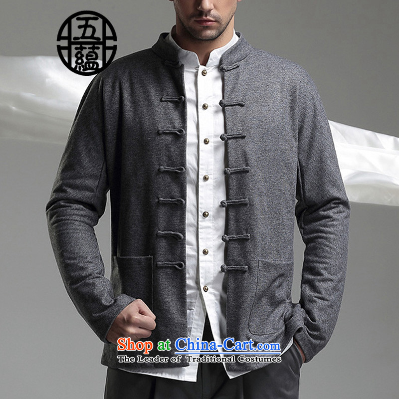 Azzu defense _azouari_ China wind men long-sleeved blouses winter Tang Dynasty Chinese collar Sau San spend gray jacket燲S
