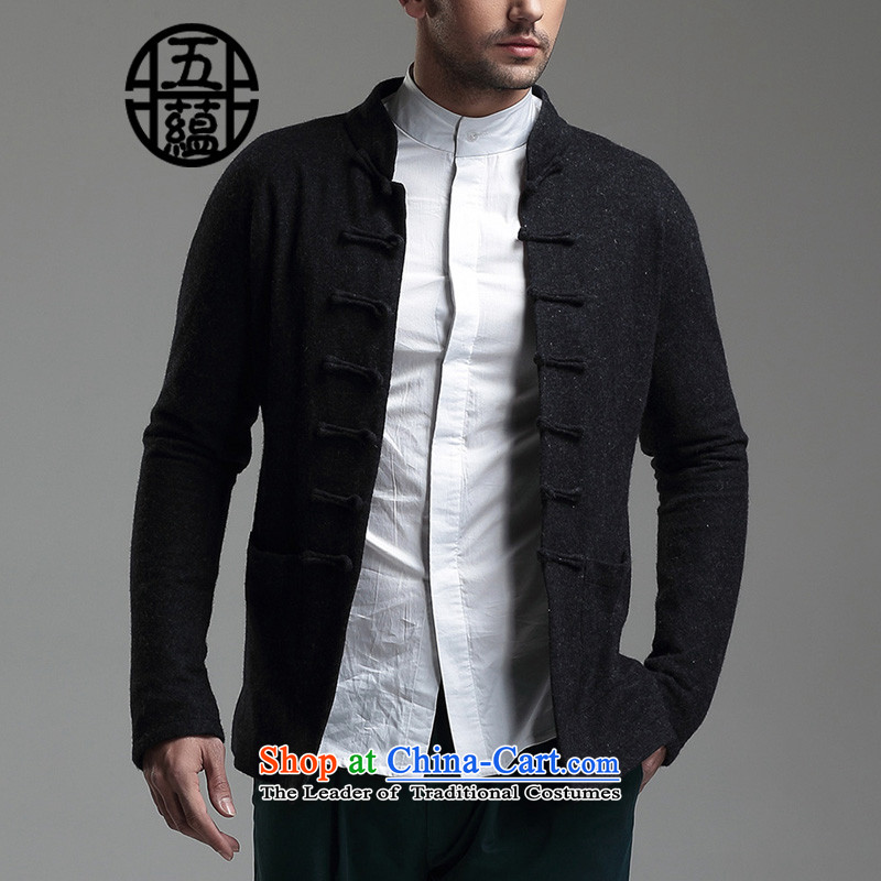 Azzu defense (azouari) China wind men Sau San Tong woolen long-sleeved jacket collar chinese black?XXXL is custom, no withdrawal not switch