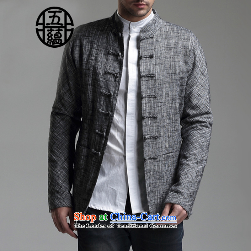 Azzu defense _azouari_ China wind men Sau San Tong boxed long-sleeved Chinese cotton jacket carbon燣