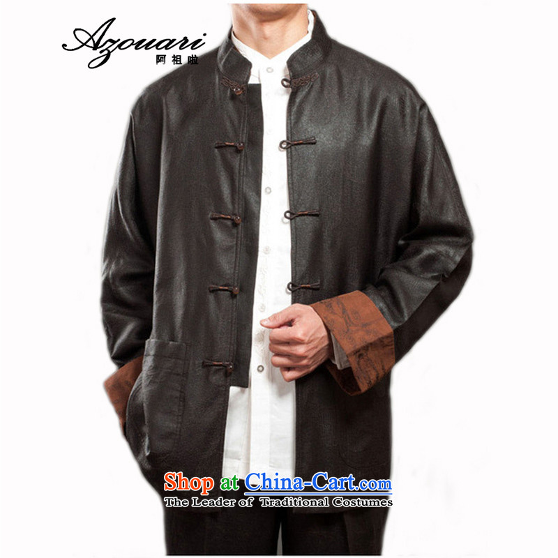 Azzu _azouari_ Heung-cloud of defense even cuff Tang Dynasty Chinese classical men jacket coat men Brown, manually聽46