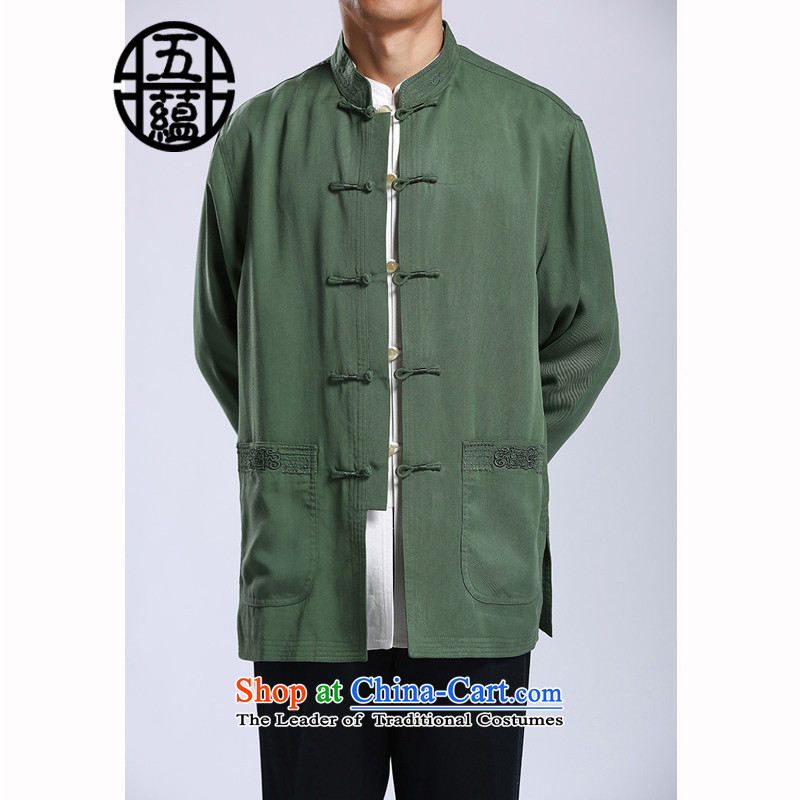 Azzu defense _azouari_ tencel men Tang jackets Chinese collar disc detained men Spring Green聽44