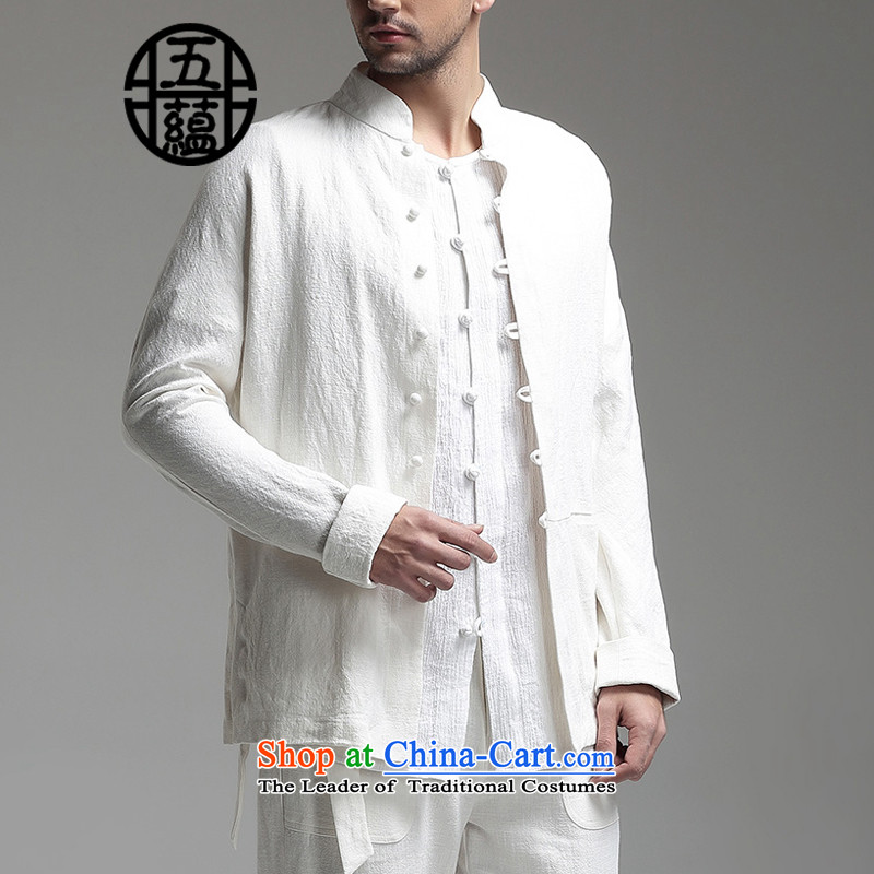 Azzu defense _azouari_ China wind men linen collar Chinese long-sleeved sweater pants + White聽L