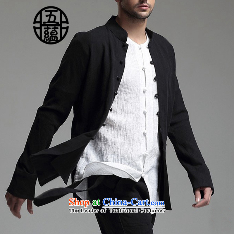 Azzu defense (azouari) China wind men linen collar Chinese long-sleeved sweater pants + White聽, L (AZOUARI azzu) , , , shopping on the Internet