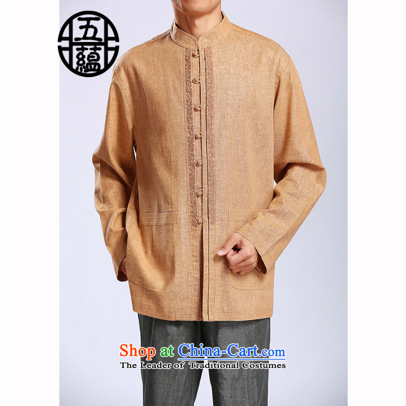 Azzu (azouari) defense linen Tang Dynasty Men's Mock-Neck Tray Tie long-sleeved shirt and Yellow?50