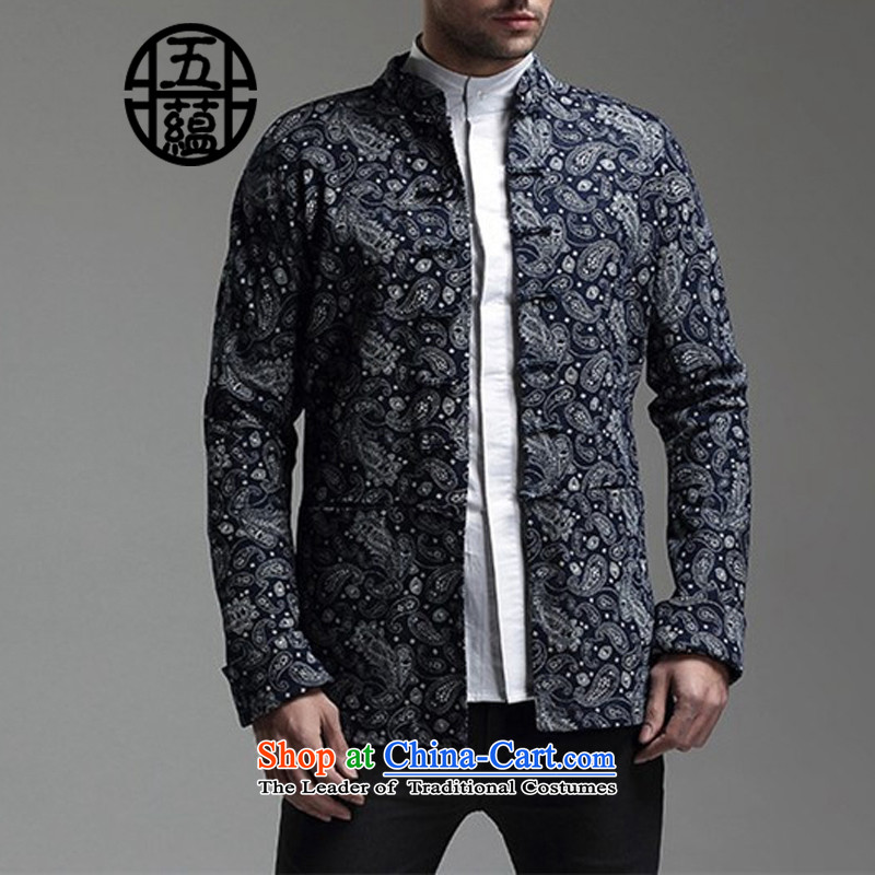 Azzu defense (azouari) China wind men Sau San Tong Replace l jacket, dark blue patterned M