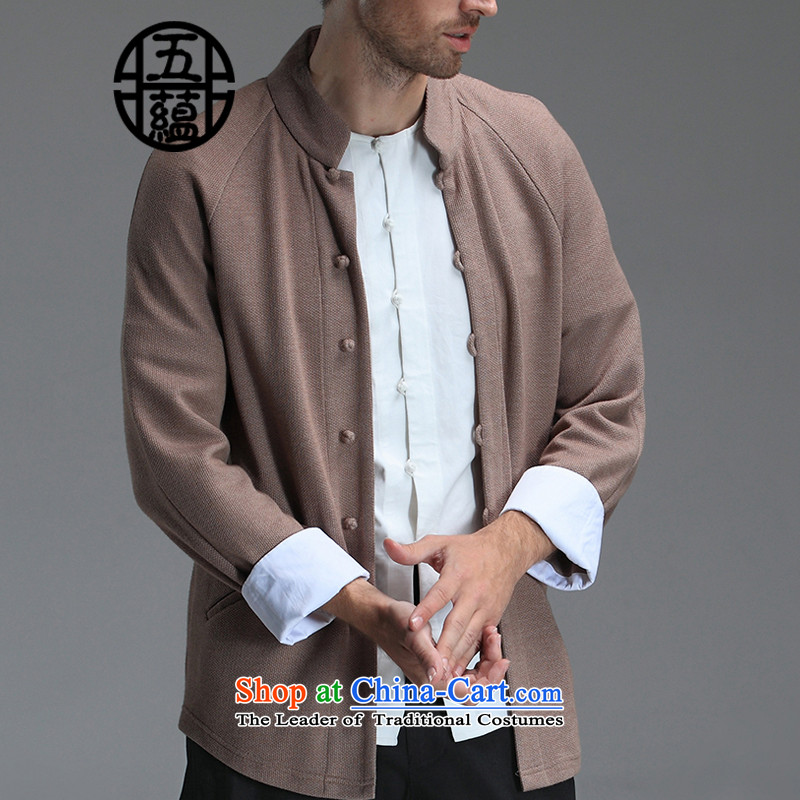 Azzu defense _azouari_ China wind men Tang soy-knitted shirt, long-sleeved brown leisure燲L