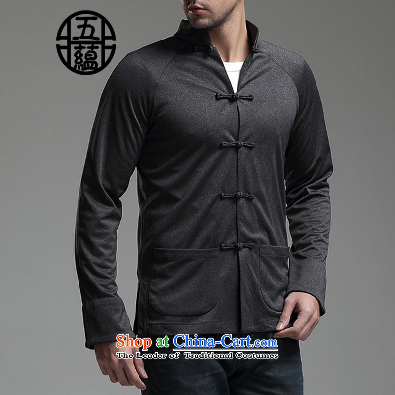 Azzu defense _azouari_ China wind men Sau San Tong boxed long-sleeved leisure denim jacket black聽M
