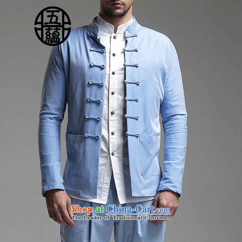 Azzu defense _azouari_ China wind men Sau San Tong boxed long-sleeved Chinese cotton jacket light blue燲XXL is no refund not switch to Custom