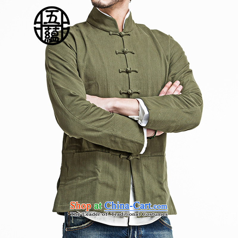 Azzu defense _azouari_ China wind men Sau San Tong boxed long-sleeved jacket cotton removable green燲L