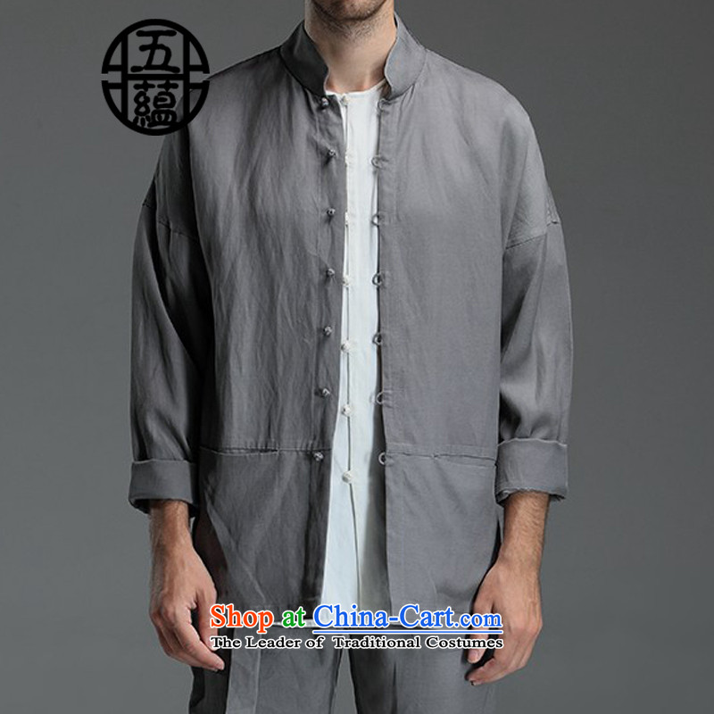 Azzu defense _azouari_ China wind men Sau San Tong boxed long-sleeved jacket, linen_cotton detained the Gray燣