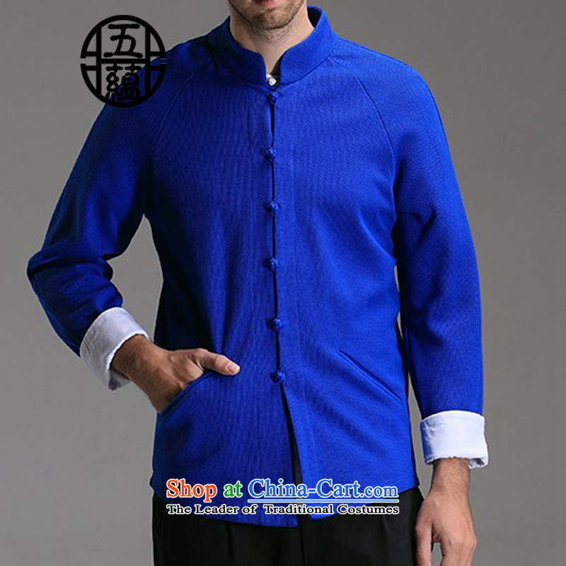 Azzu defense _azouari_ China wind men Sau San Tong boxed long-sleeved jacket Knitted Shirt blue-violet燤