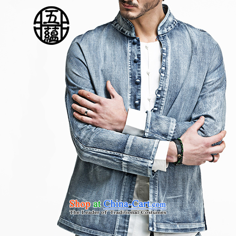 Azzu defense _azouari_ China wind men Sau San features a long-sleeved jacket leisure Denim blue聽XL
