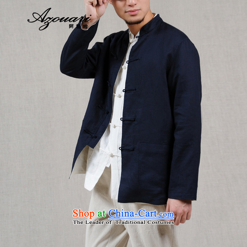Azzu defense _azouari_ original reversible Sau San Tong replacing men wearing two-sided retro jacket China wind men t-shirt, beige_navy聽XL180_96