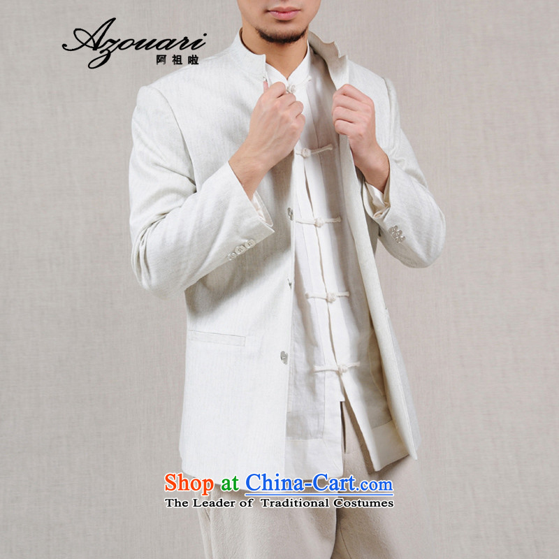 Azzu defense _azouari_ original antique improved Chinese cotton linen men's jackets spring men shirt聽XL180_96 White