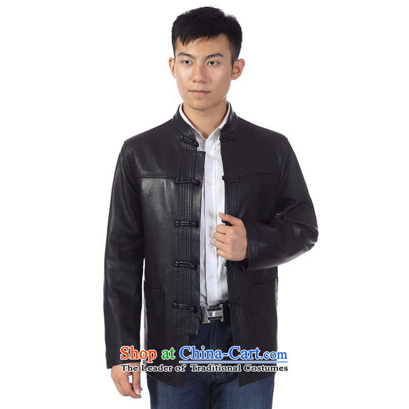 In 2015, the annual Golden Spring and Fall in new elderly men PU Tang dynasty father replace collar from T-Shirt ironing Sau San leather garments Chinese tunic XL black jacket聽, 185, Ho ad , , , shopping on the Internet