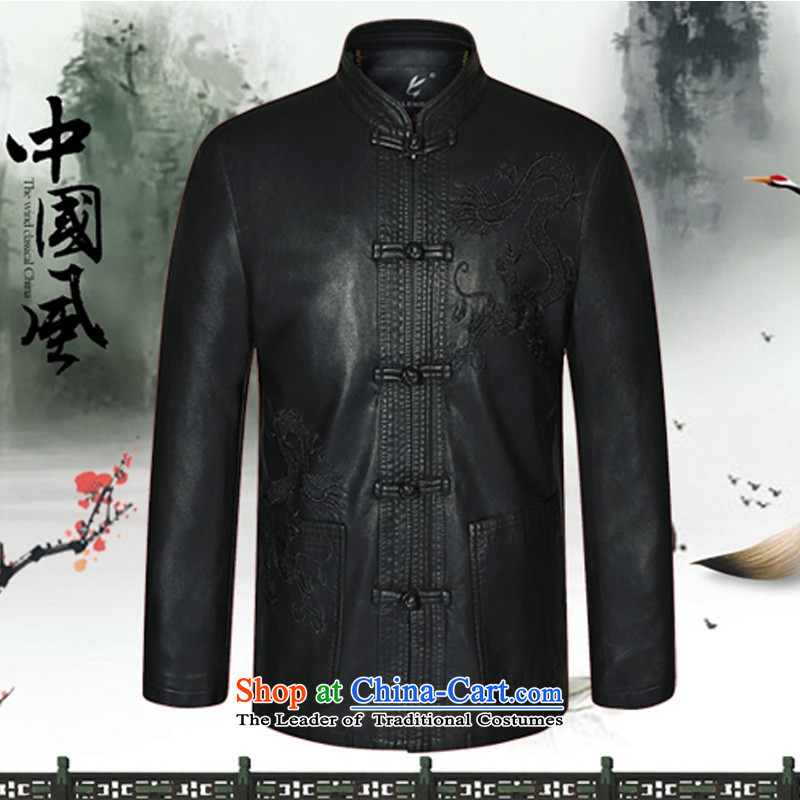 In 2015, the annual Golden Spring and Autumn in New elderly men who are exempt from T-Shirt ironing atmosphere leather father loaded collar leisure embroidery XL black jacket Tang?185 recommendations about 153 1.76m_